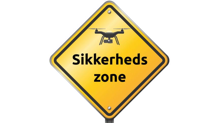 Sikkerhedszone skilt, droneregler