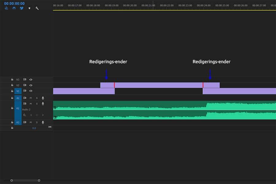 Udklip fra videoredigerings program, illustrer Redigeringsender, kamerabevægelse