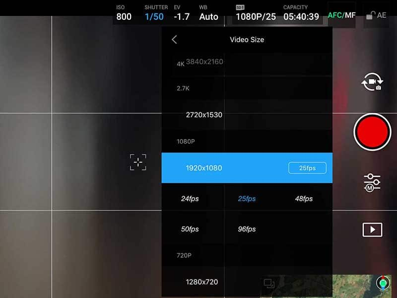 DJI video size & FPS