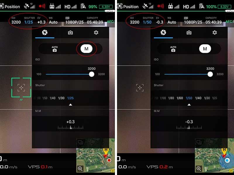 DJI shutter speed kamerainstillinger