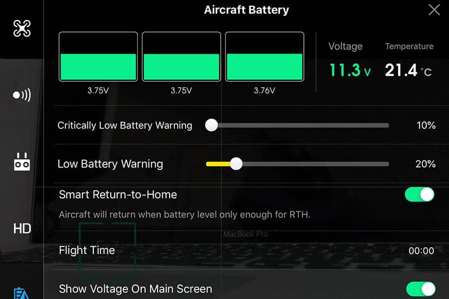 Drone batterier cell DJI4GO app