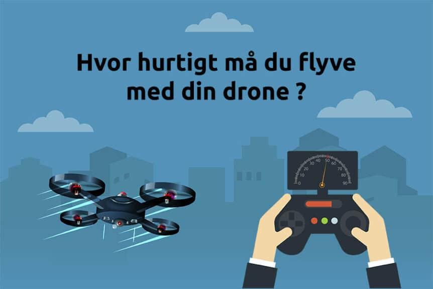 Fartgrænser for droner, controller og drone i fart med by i baggrunden
