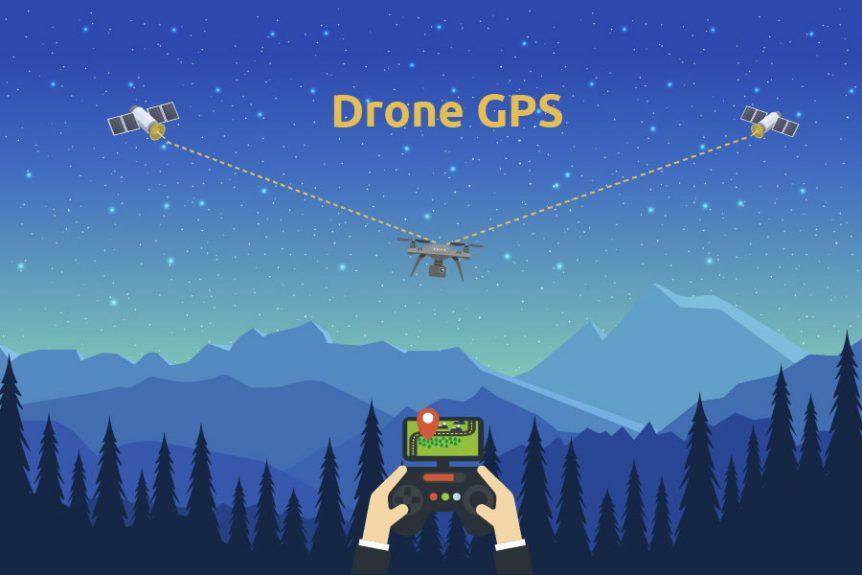 Nattehimmel med to satellitter der har forbindelse til en flyvende drone
