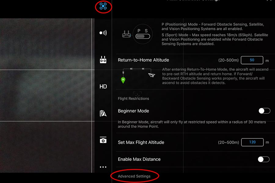 kalibrer dit drone kompas DJIGO4, advance settings, Kalibrering af IMU