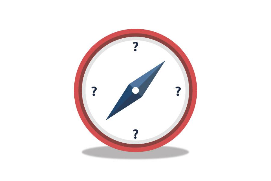Kompas fejl med spørgsmålstegn i stedet for nord og syd