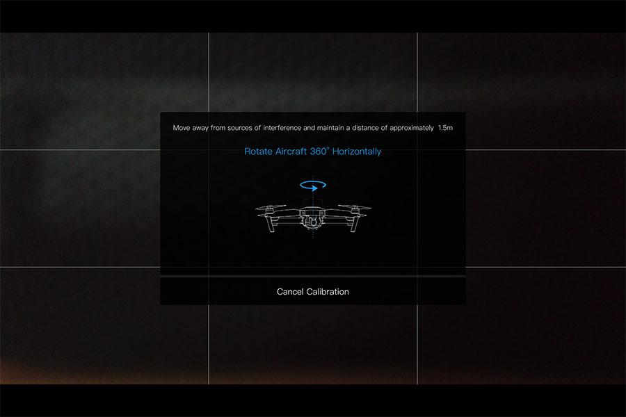 kalibrer drone kompas, DJIGO mavic vandret