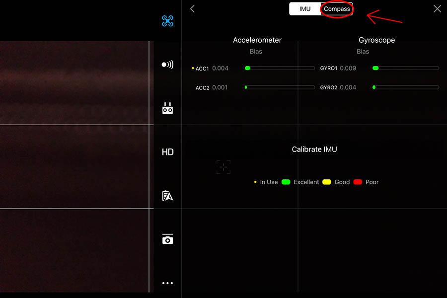 Kalibrer drone kompas, sensore menu, DJIGO4 app
