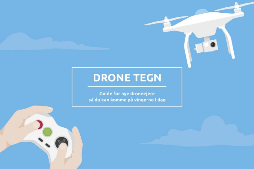 Drone flying in the skies, controller and hands i the corner, info boks middel: dronetegn