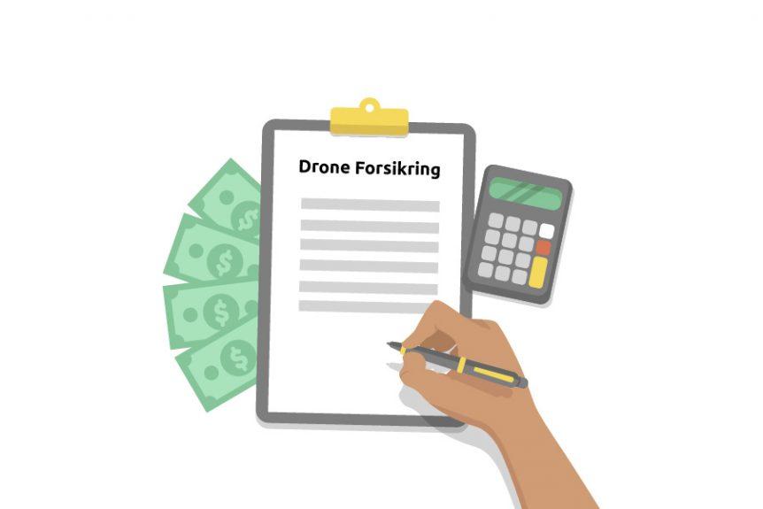 Drone forsikring papire, pengesedler og lommeregner