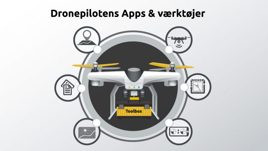 dronepilotens værktøjer, drone with tools around in circles